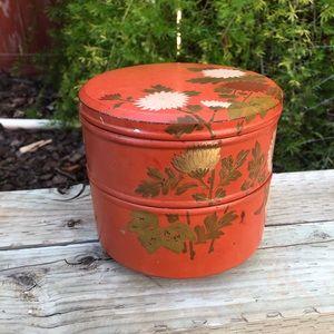 Vintage Asian Orange Floral Jewelry Trinket Box
